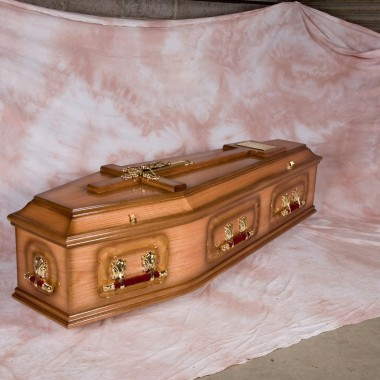 The Two Tone red oak Coffin